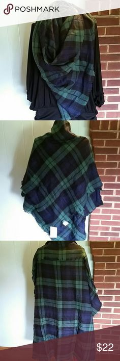 Blue and Green Blanket Scarf Beautiful blue, green and black plaid pattern. So soft. Big enough to wear as a shawl, pashmina or even use as a blanket. Trendy and versatile. I love this worn as a triangle scarf. Perfect for fall. 100% acrylic. Accessories Scarves & Wraps