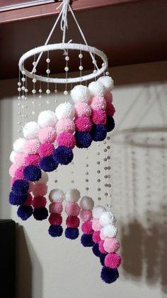 Pom Pom Chandelier Crib Mobile on Mercari Diy Crafts Hacks, Diy Crafts For Gifts, Diy Home Crafts, Diy Arts And Crafts, Creative Crafts, Diys, Pom Pom Crafts, Yarn Crafts, Pom Pom Diy