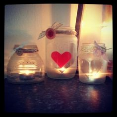 Homemade candle holders. Old jars are quick & easy & always different.