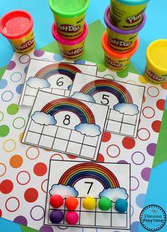 Preschool Rainbow Counting Activities for Spring - Rainbow 10 Frames. Rainbow Crafts Preschool, Rainbow Activities, Preschool Centers, Counting Activities, Preschool Themes, Spring Activities, Preschool Activities, Educational Activities, Preschool Weather