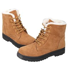 Mostrin Winter Women's Lace Up Snow Boots Waterproof Warm Fur Lined Suede Flat Short Boots ** You can find out more details at the link of the image.