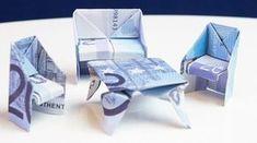 Geldgeschenk zum Einzug/Umzug: Sitzbank aus einem Geldschein falten! Kreative Idee um Geld persönlich zu verschenken. DIY-Anleitung um Sitzbank aus Euro Bank...