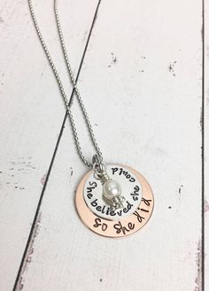 She Believed She Could So She Did Necklace  Copper Mixed