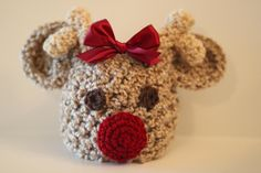 Crochet Baby Reindeer Rudolph Hat Photography. $18.99, via Etsy.