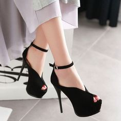 Sexy Peep Toe Ankle Strap Platform Sandals Stiletto Heel 2905