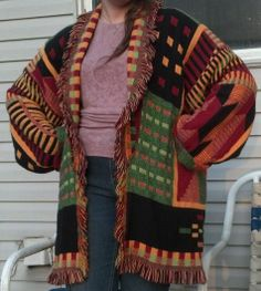 My sister saw this jacket in a sewing magazine and found the perfect triple woven throw. I made myself one first, because I wasn't sure how badly the throw would fray and wanted it to be perfect...