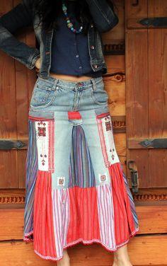 Ethnic folk hippie boho jeans  skirt recycled skirt