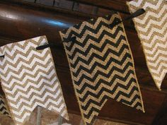 Black and White Chevron Burlap Banner by inspirationalbanners, $18.00