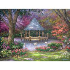 Swan Painting, Garden Art, Gazebo Artwork, Painting of Swans, Perfect... ($10) ❤ liked on Polyvore featuring home, home decor, wall art, bird plates, heart painting, framed paintings, textured painting and dog wall art