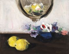Francis Campbell Boileau Cadell (Scottish, 1884-1937), Anemones in a Blue Vase. Oil on canvas, 43 x 53.5cm.