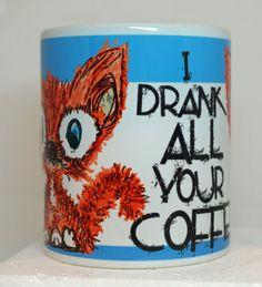 Coffee Kitty Mug by tamarakraft on Etsy, $12.95
