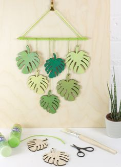 Inspiration to create your own tropical leaf wall hanging using Birch wood shapes, acrylic paint and lime twine. Attic Rooms, Tropical Leaves, Twine, Birch, Create Your Own, Plant Leaves, Loft, Shapes, Wall