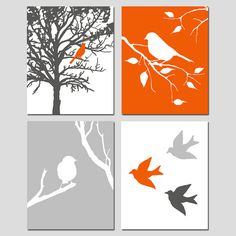 Modern Bird Quad - Set of Four 11x14 Prints - Kids Wall Art For Nursery - Choose Your Colors - Shown in Red Orange, Gunmetal, Pale Gray via Etsy