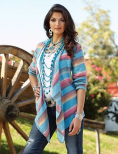 Gonzales Serape Shrug from Crow's Nest - I'd mentioned in a previous pin that I like wearing draped jackets like this one - and the colours here are very nice.