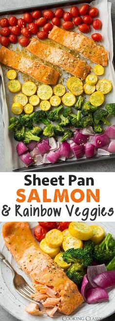 Sheet Pan Honey Mustard Salmon and Rainbow Veggies - one of the easiest most delicious dinners! LOVED this! #recipe #recipes #recipeoftheday #recipeoftheweek #healthy #healthyrecipes #healthyfood #healthyliving