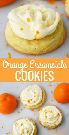 Soft citrus orange cookies topped with orange cream cheese frosting. A sweet citrus cookie that reminds you eating an orange creamsicle. A Rubysnap Copycat cookie recipe. Orange Cookies, Cookies Soft, Cookies And Cream, Cookies Et Biscuits, Yummy Cookies, Chip Cookies, Honey Cookies, Frosted Cookies, Cream Cheese Cookie Frosting