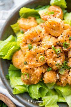 Bang Bang Shrimp (Paleo, Grain Free, Nut Free) ~ Sam Best Food Recipes and Kitchen Design Ideas Whole30 Dinner Recipes, Paleo Dinner, Paleo Recipes, Cooking Recipes, Whole30 Shrimp Recipes, Cooking Corn, Easy Cooking, Paleo Whole 30, Whole 30 Recipes