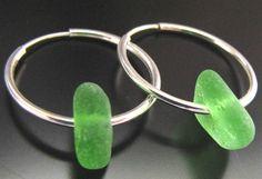 Sea Glass Jewelry, Emerald Green - Genuine Sea Glass Seaglass Earrings - Sterling Silver Hoops, Jewellery