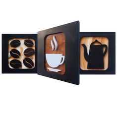 3 quadros decorativos para cozinha ou cantinho do café. Com desenhos criativos de bule, xícara e grãos de café esculpidos em relevo no mdf, pintura acrílica e esmalte.  Medidas cada quadro: L 30 x A 30 x C 2 cm - Peso 1 Kg    Quadro Café Premium I - Trio