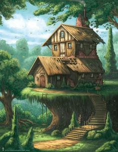 Architectural Hobbyist Picture fantasy, environment, concept art, architecture, house) The simple truth is this Fantasy City, Fantasy House, Fantasy Places, Fantasy World, Fantasy Forest, Fantasy Concept Art, Fantasy Artwork, Digital Art Fantasy, Fantasy Landscape