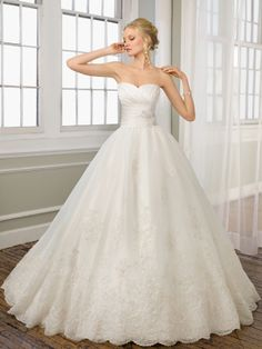 Empire Strapless Belt Lace Sweep Train Wedding Dress at Millybridal.com