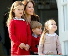 Crown Princess Mary of Denmark, with Princess Isabella, Prince Vincent and Princess Josephine
