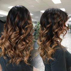 """_mandeeee on Instagram: """"Added some lightness to be ends with a retouch to cover her sparkles  used olaplex to ensure her hair stays heathy, and it's all hand painted! #redkencolor #darkhair #ombre #balayage #flashlift #olaplex #behindthechair #modernsalon #hairbrained #curlyhair #hairbymandeeee #cilantrohairspa"""""""