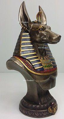 Egyptian Anubis Jackal Bust on Plinth Statue Sculpture Antique Bronze Finish