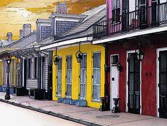 121 French Quarter Houses Print by John Boles