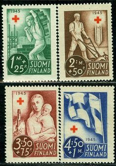 1945 Finland Red Cross Worker Mason Peasant Mother and Child Flag MI 291 MNH | eBay Finland Flag, Red Cross, Mother And Child, Stamps, Medical, Children, Ebay, Mint, Health