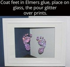 Framedcool craft for baby glitter baby footprints Baby Life Hacks, Diy Bebe, Future Mom, Foto Baby, Baby Footprints, Little Doll, Baby Art, Baby Feet Art, Baby Hand And Foot Prints