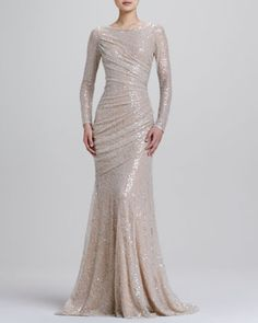 Carmen Marc Valvo Long-Sleeve Sequined Mermaid Gown and other apparel, accessories and trends. Browse and shop 6 related looks. Carmen Marc Valvo, Affordable Wedding Dresses, Wedding Dress Styles, Wedding Gowns, Sequin Wedding, Beautiful Gowns, Beautiful Outfits, Beautiful Lines, Gorgeous Dress