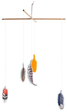 Coral and Tusk - feather mobile