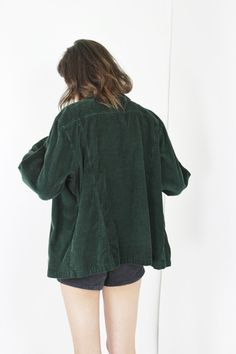 vtg 90s long sleeve shirt green corduroy top by RedLuckVintage