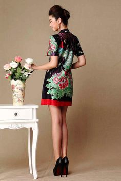 Chinese inspired peacock peony print wrinkled silk linen short mini dress | Modern Qipao | Join our 6 stores 8 days Christmas giveaway from Dec. 16th. 2013