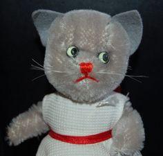 1950/60´s ULTRA RARE; VINTAGE GERMAN SWEET KERSA LADY CAT DRESSED 15 CM TOP