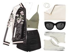 """This bomber tho"" by baludna ❤ liked on Polyvore featuring Topshop, Vans, Clare V. and Natalie B"