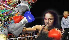 Mona Lisa in a fight, will Vincent stop the fight? by Barry Kite photocollage
