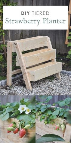 tiered strawberry planters ideas, DIY tiered strawberry box planter, vertical garden idea This DIY tiered strawberry planter project is perfect to create your vertical strawberry garden. It has 3 raised tiered planters, great for small space! Strawberry Planters Diy, Strawberry Box, Strawberry Garden, Strawberry Hydrangea, Strawberry Plants, Diy Planters Outdoor, Outdoor Gardens, Planter Ideas, Outdoor Wood Table