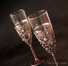 Champagne Glasses, Wedding Glasses, Champagne Flutes, Set of 2 Hand Painted ❤ Plum - Purple - Grey -Brown -Blushed ❤ This is what I can say about
