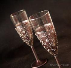Champagne Glasses Wedding Glasses Champagne от NevenaArtGlass