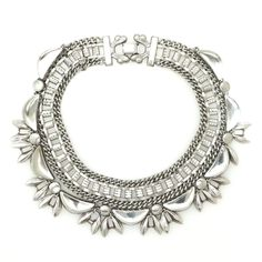 Vintage silver chain collar and vintage silver wreath necklace