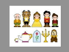 THIS IS FOR A PDF PATTERN ONLY. Beauty and the Beast Pixel People Pattern Pattern measures 6 x 5 on 14 count cloth. Characters include: