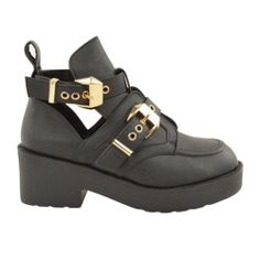 NEW IN :: Love Black Buckle Cut Out Shoe Boots