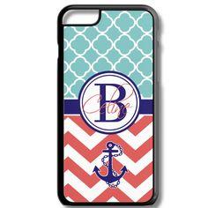 Teal Quatrefoil Red Chevron Anchor Monogram Iphone 6/6s Case Plus 5c 5/5s 4/4s Personalized Custom Cover Lattice