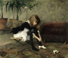 Hélène Schjerfbeck peintre finlandaise de langue suédoise est née à Helsinki en 1862 . Mise à l'écart dès quatre ans, après qu'une luxation de la hanche et une santé précaire l'empêchèrent de fréquenter l'école, Schjerfbeck est admise à l'École de dessin...