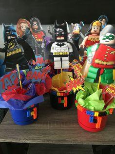 Lego centerpieces - Lego Batman - Ideas of Lego Batman - Lego centerpieces Lego Batman Birthday, Lego Batman Party, Avengers Birthday, 9th Birthday Parties, Superhero Birthday Party, Boy Birthday, Birthday Ideas, Robin, Batman Stuff