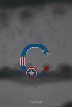 Alphabet de super héros et personnages connus en Helvetica