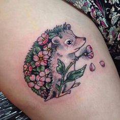 This flowery little fellow. ANIMAL LOVER tattoo. Hedgehog tattoo