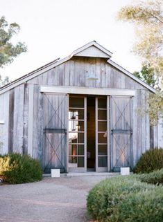 Glass barn doors.